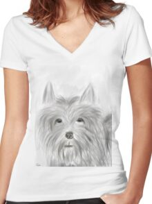 Cute Terrier Sketched Drawing Women's Fitted V-Neck T-Shirt