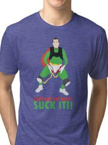 Impractical Jokers Captain Fat Belly Larry Suck It Funny Fan Art Tri-blend T-Shirt