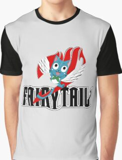 Black Fairy Tail and Red Happy Logo Graphic T-Shirt
