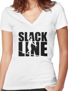 Slackline Women's Fitted V-Neck T-Shirt