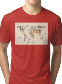 Animal Map of the World for children and kids Tri-blend T-Shirt