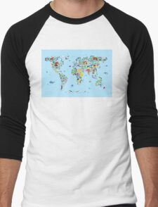 Animal Map of the World for children and kids Men's Baseball ¾ T-Shirt