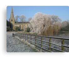 A cold and frosty morning in Brompton village near Scarborough. Canvas Print