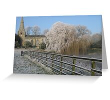 A cold and frosty morning in Brompton village near Scarborough. Greeting Card