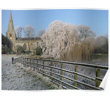 A cold and frosty morning in Brompton village near Scarborough. Poster