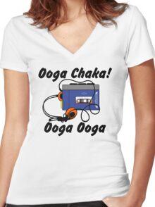 Ooga chaka! Ooga ooga Women's Fitted V-Neck T-Shirt