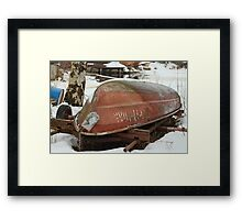 old rowing boat laying on the shore Framed Print