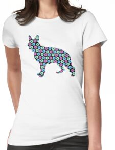 German Shepherd, Spring Floral Pattern Womens Fitted T-Shirt