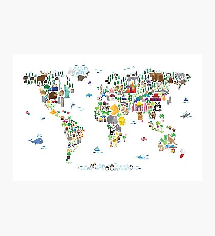 Animal Map of the World for children and kids Photographic Print