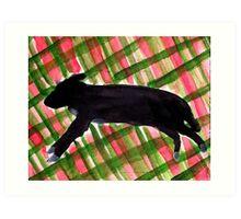 Black Dog on Spring Plaid Art Print