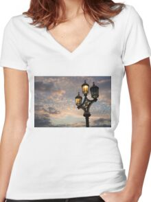 One Light Out - Westminster Bridge Streetlights, River Thames in London, UK Women's Fitted V-Neck T-Shirt