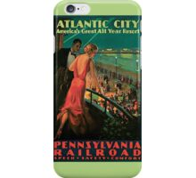 Vintage 1930s Atlantic City NJ railroad travel advertising iPhone Case/Skin