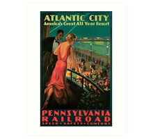 Vintage 1930s Atlantic City NJ railroad travel advertising Art Print