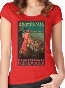 Vintage 1930s Atlantic City NJ railroad travel advertising Women's Fitted Scoop T-Shirt