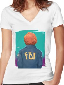 f b i Women's Fitted V-Neck T-Shirt
