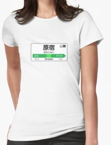 Harajuku Train Station Sign Womens Fitted T-Shirt