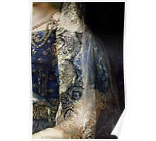 Closeup of Antique Spanish lace Mantilla, detailed dress Poster