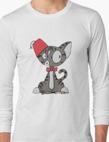 fez cat Long Sleeve T-Shirt