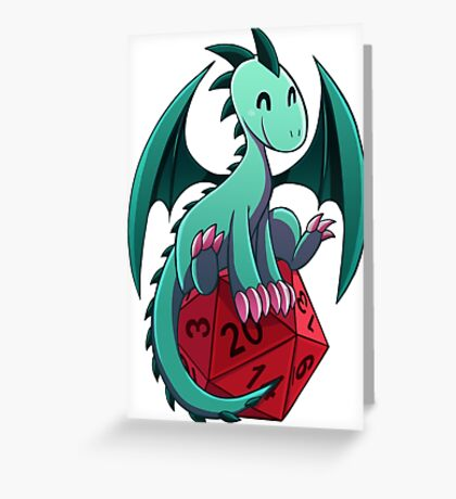 D&D - Dragons and Dice! (Green Dragon) Greeting Card