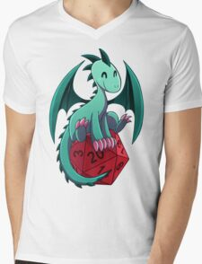 D&D - Dragons and Dice! (Green Dragon) Mens V-Neck T-Shirt