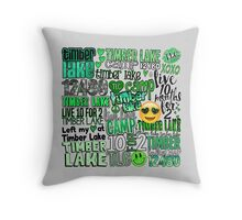 Timber Lake Words Collage Throw Pillow