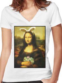 Mona Lisa Easter Bunny  Women's Fitted V-Neck T-Shirt