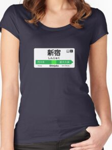Shinjuku Train Station Sign Women's Fitted Scoop T-Shirt