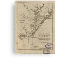 American Revolutionary War Era Maps 1750-1786 360 Cape Fear River with the counties adjacent and the towns of Brunswick and Wilmington against which Lord Canvas Print