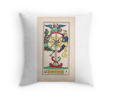 X. La Roue de Fortune (The Wheel of Fortune) Throw Pillow