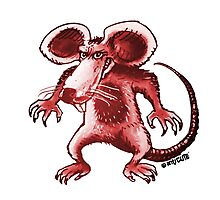 angry rat cartoon style Photographic Print