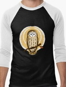 Barred Owl Illustration Men's Baseball ¾ T-Shirt