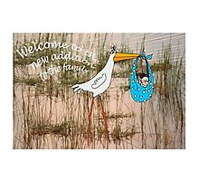 """""""Welcome to the new addition"""", stork with baby. Photographic Print"""