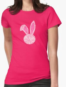 Pretty White Lace Bunny Womens Fitted T-Shirt