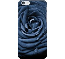 Blue Rose with Water Droplets iPhone Case/Skin