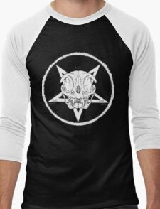 White Cult Cat Skull Men's Baseball ¾ T-Shirt