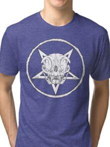 White Cult Cat Skull Tri-blend T-Shirt