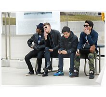 Young Men on a Bench Poster