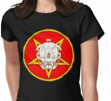Red Cat Skull Cult Womens Fitted T-Shirt