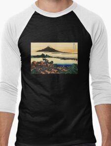 'Dawn at Isawa in the Kai Province' by Katsushika Hokusai (Reproduction) Men's Baseball ¾ T-Shirt