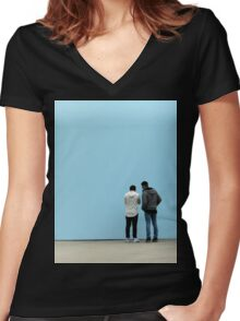 Two Young Men and a Blue Wall Women's Fitted V-Neck T-Shirt