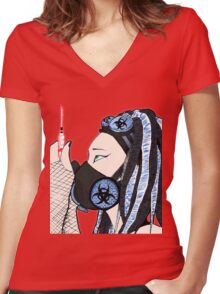 Cyber Blue Women's Fitted V-Neck T-Shirt