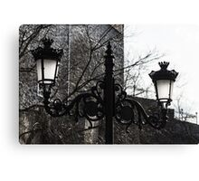 Intricate Ironwork Streetlights - Black and White Retro Chic with Crowns Canvas Print