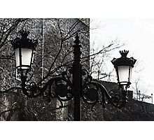 Intricate Ironwork Streetlights - Black and White Retro Chic with Crowns Photographic Print