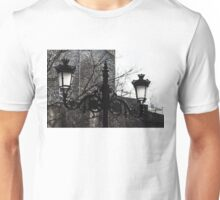 Intricate Ironwork Streetlights - Black and White Retro Chic with Crowns Unisex T-Shirt