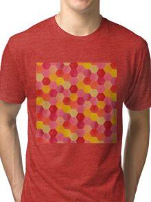 Pink and Yellow Hexagons Tri-blend T-Shirt