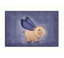 Blue Wings Piggy Art Print