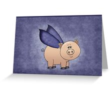 Blue Wings Piggy Greeting Card