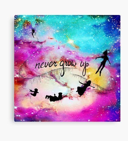 Never Grow Up Peter Pan Nebula Canvas Print