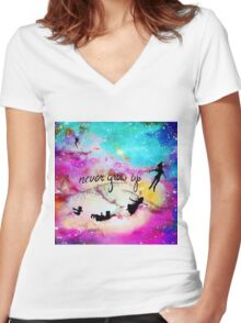 Never Grow Up Peter Pan Nebula Women's Fitted V-Neck T-Shirt