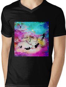 Never Grow Up Peter Pan Nebula Mens V-Neck T-Shirt